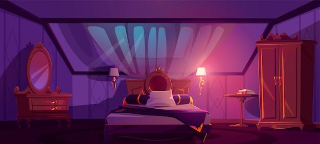 夜の屋根裏部屋の豪華な寝室のインテリア。ベッドとベクトル漫画マンサード寝室 無料ベクター