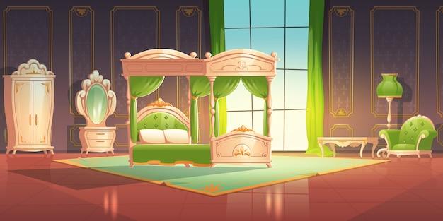 로맨틱 스타일의 가구와 고급스러운 침실 인테리어. 무료 벡터