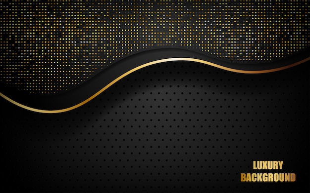 Luxury black abstract background overlap layer on dark space with golden waves and dots glitters Premium Vector