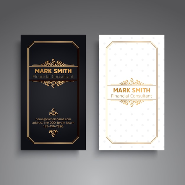 Luxury black and white business card template Premium Vector