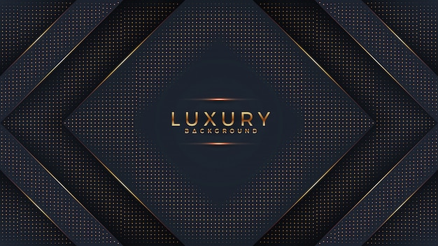 Luxury black background with a combination glowing golden dots with 3d style. Premium Vector