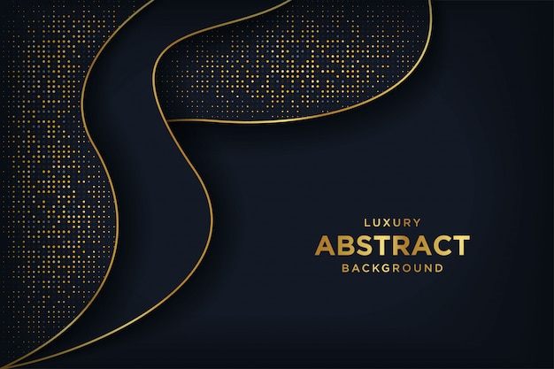 Luxury black background with a combination glowing golden dots. Premium Vector