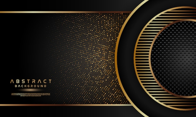 Luxury black background with glitters and circle decoration Premium Vector