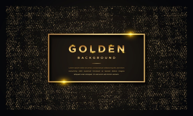 Luxury black background with golden glitters Premium Vector