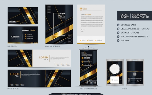 Luxury black gold stationery  set and visual brand identity with abstract overlap layers background. Premium Vector