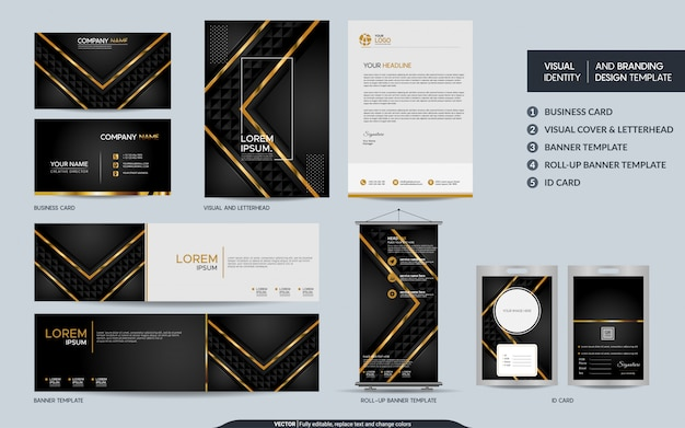 Luxury black gold stationery set Premium Vector