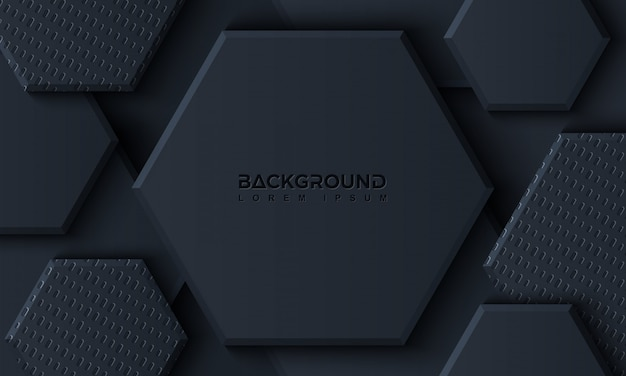 Luxury black hexagon background with 3d style Premium Vector