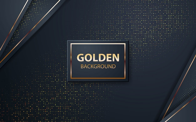 Luxury black overlap layers background with golden glitters Premium Vector