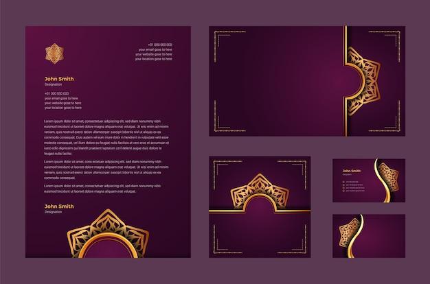 豪華な装飾用マンダラアラベスク、名刺、レターヘッド付きの豪華なブランドアイデンティティまたは文房具のデザインテンプレート Premiumベクター