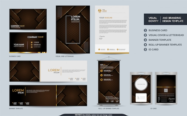 Luxury brown stationery mock up set and visual brand identity with abstract overlap layers backgroun