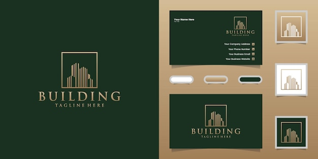 Luxury building logo with square and gold color line art style design template and business card Premium Vector