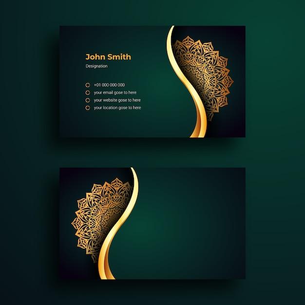 Luxury business card design template with luxury ornamental mandala arabesque background Premium Vec