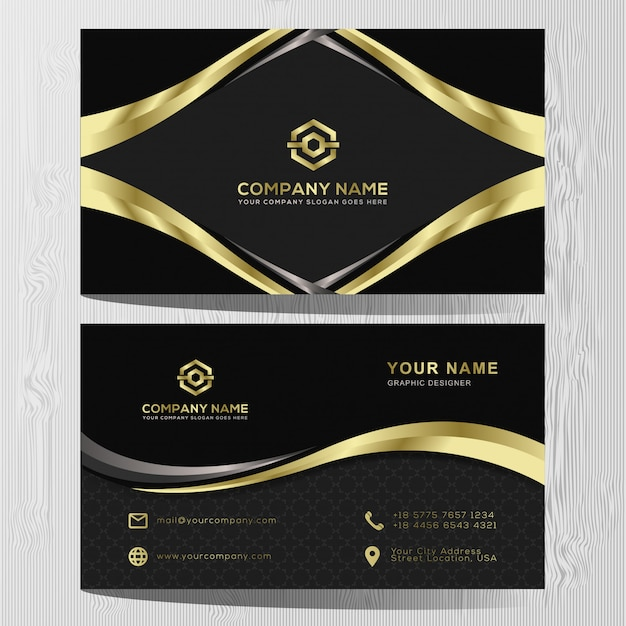 Luxury business card gold and silver template Premium Vector