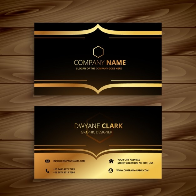 Luxury business card in golden style Free Vector