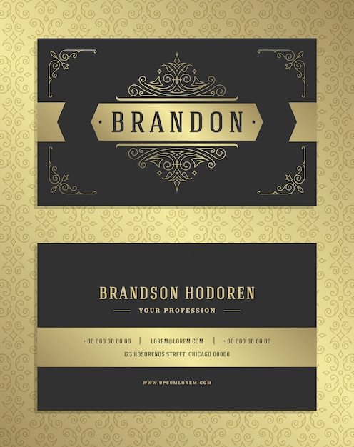 Luxury business card and golden vintage ornament logo vector template. Premium Vector