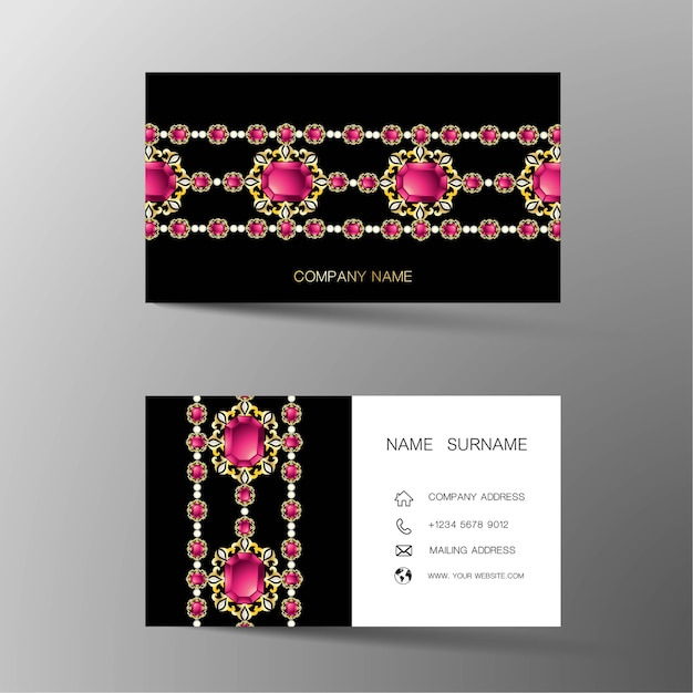 Luxury business card. inspired by diamonds. Premium Vector