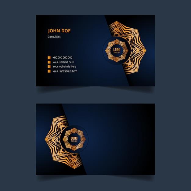 Роскошный дизайн шаблона визитной карточки с золотой арабеской мандалы Premium векторы
