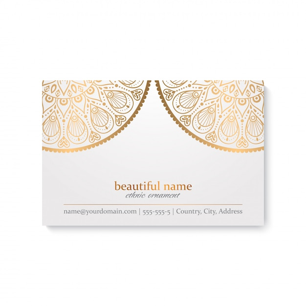 Luxury business card template with indian style, white and golden color Free Vector