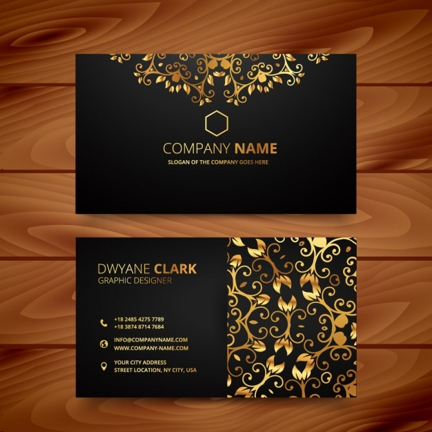 luxury business card with golden ornaments vector free download