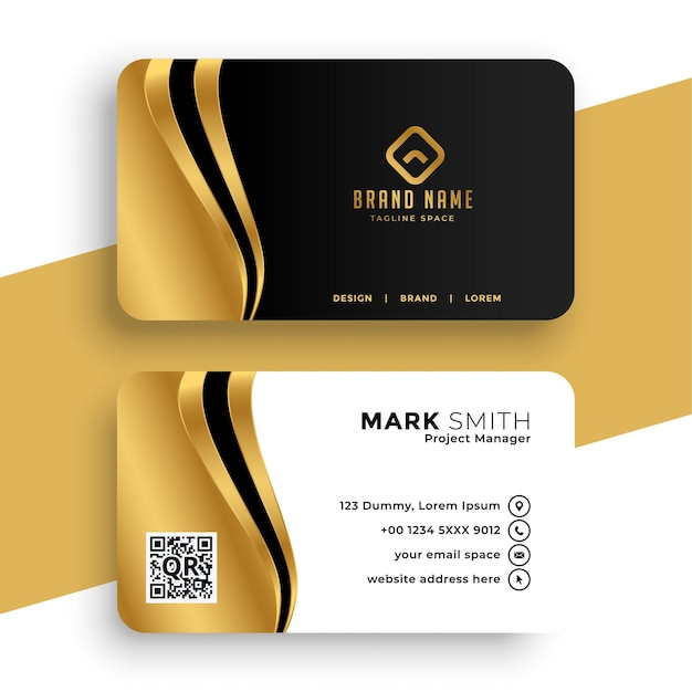 Luxury business card with golden wave Free Vector