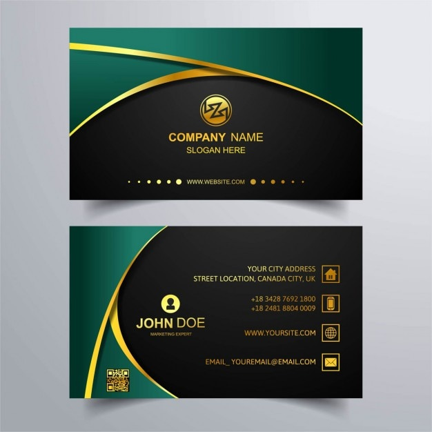 luxury business card with green background vector free download
