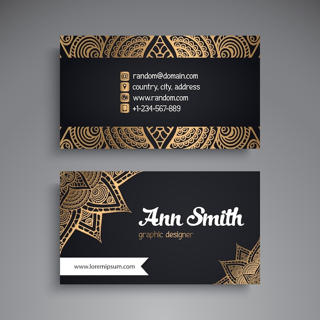 Luxury business card with mandala decoration vector free download luxury business card with mandala decoration free vector reheart