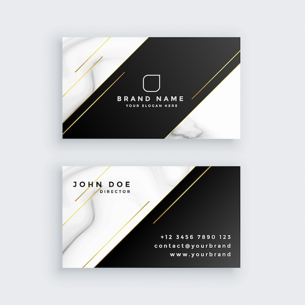 Luxury business card with marble texture Free Vector