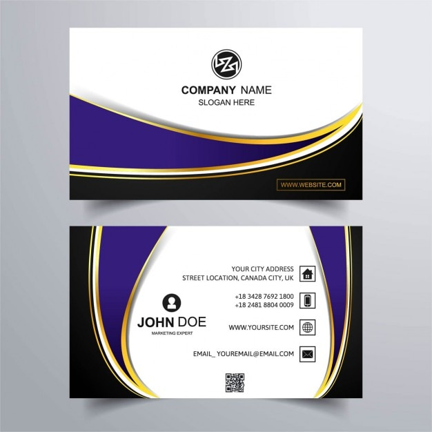 Luxury Business Card With Purple Background Free Vector