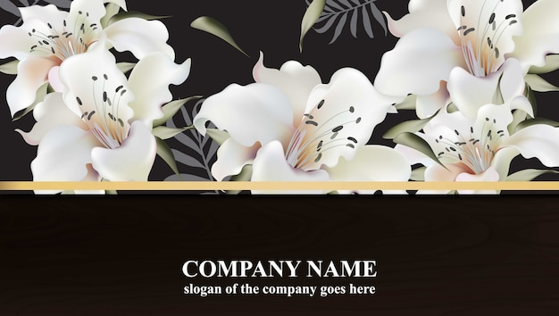 Luxury card with lily flowers vector. beautiful illustration for brand book, business card or poster. black background. place for texts Premium Vector