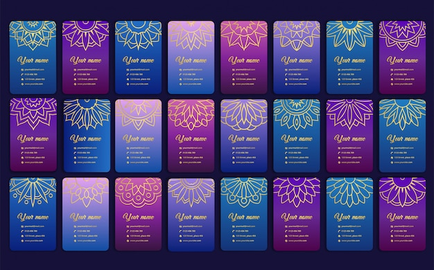 Luxury card with mandala. arabesque business card in trendy purple color Premium Vector