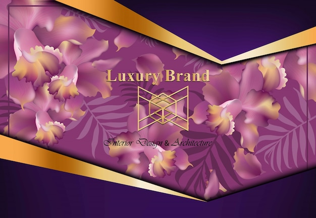 Luxury card with orchid flowers vector. beautiful illustration for brand book, business card or poster. pink background. place for texts Premium Vector