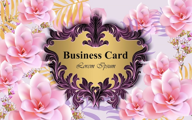 Luxury card with water lily flowers vector. beautiful illustration for brand book, business card or