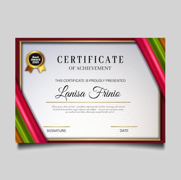 Luxury certificate achievement template Free Vector