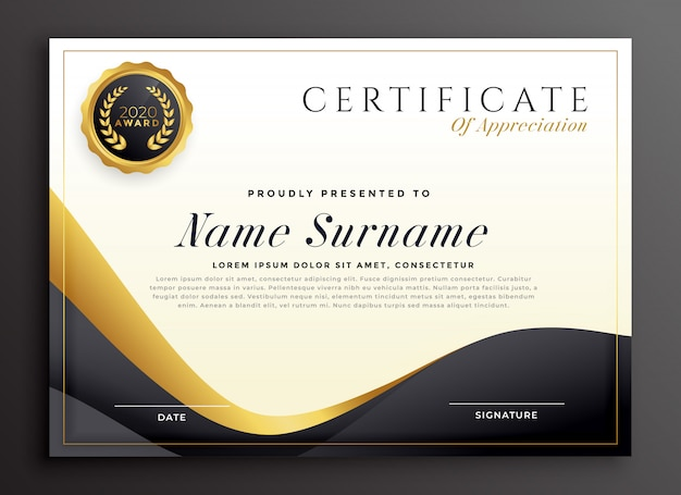 Luxury certificate of appreciation template Free Vector