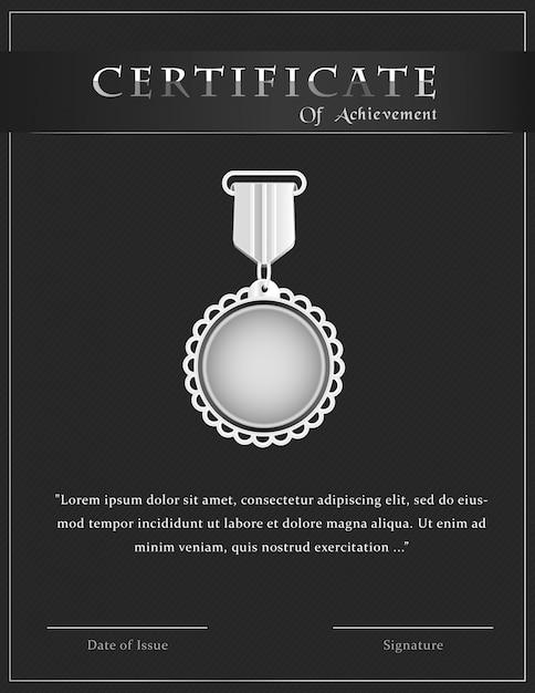 銀メダルと達成テンプレートデザインの高級証明書 Premiumベクター