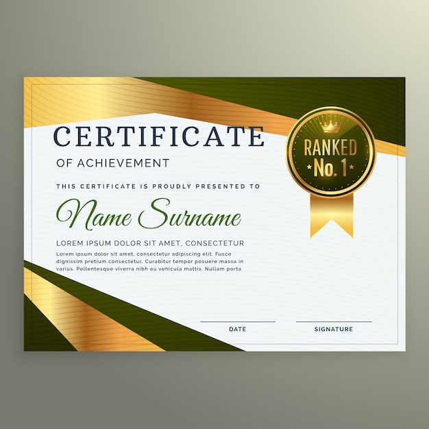 Luxury Certificate Template Design In Geometric Shape