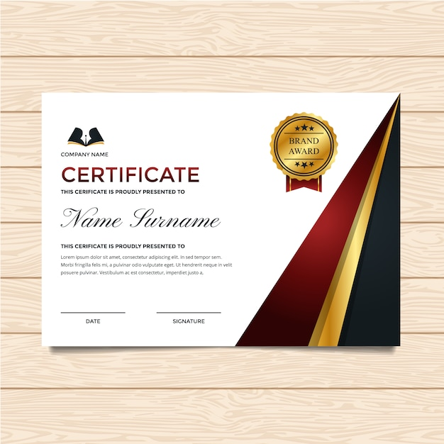 Elegant certificate of completion template Vector | Free ...