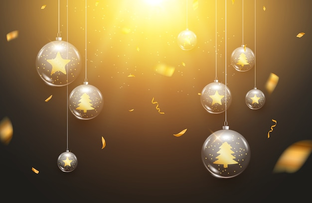 Luxury christmas balls light background decoration holiday greeting card. glass xmas balls decoration background with confetti. Premium Vector