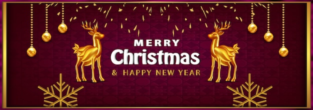 Роскошный рождественский баннер рождественский фон с реалистичными объектами золотой олень Бесплатные векторы