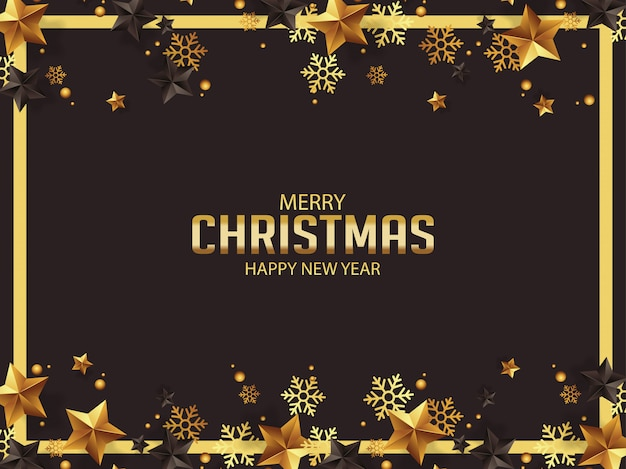 Luxury christmas greetings with gold and black stars Premium Vector