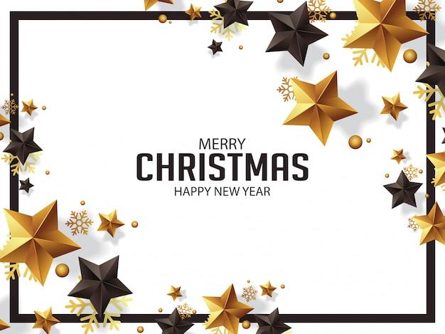 Luxury christmas greetings with golden stars illustration Premium Vector