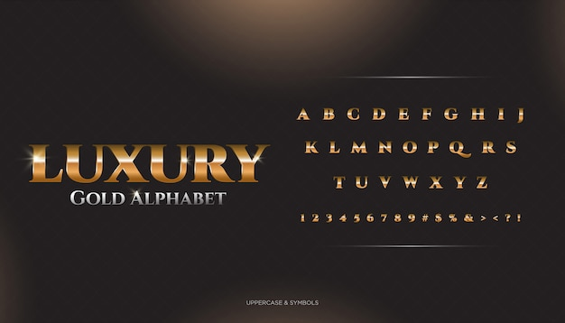 Luxury classic alphabetフォント Premiumベクター