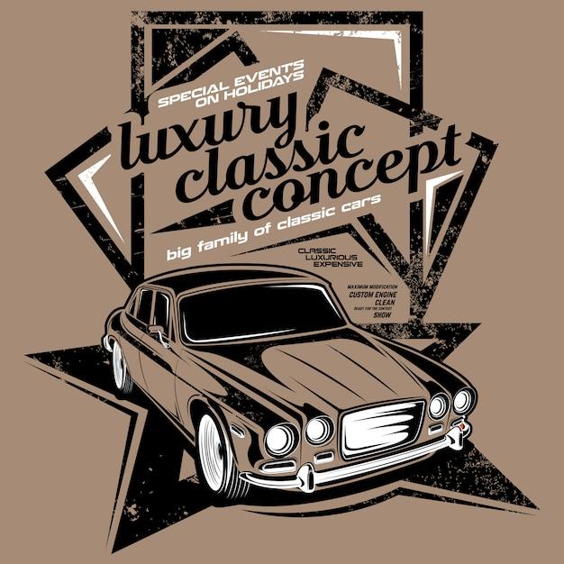 Luxury classic concept, classic car illustrations Premium Vector