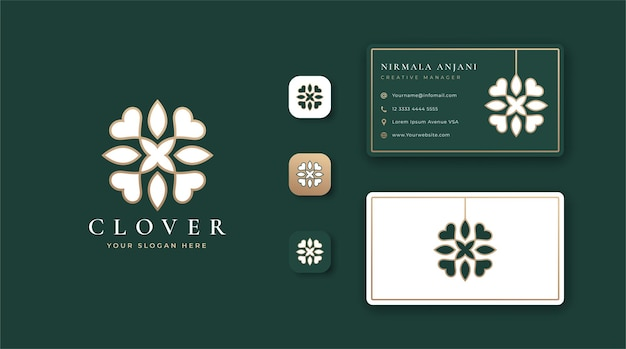 Luxury clover logo and business card design Premium Vector