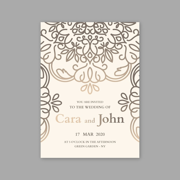Luxury concept for wedding invitation template Free Vector