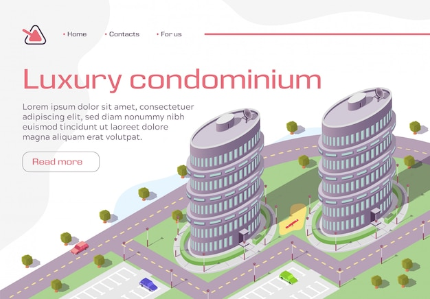 Luxury condominium horizontal banner Premium Vector