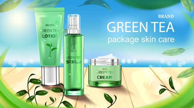 Luxury cosmetic bottle package skin care cream, beauty cosmetic product poster, with green tea and wooden floor on beach Premium Vector