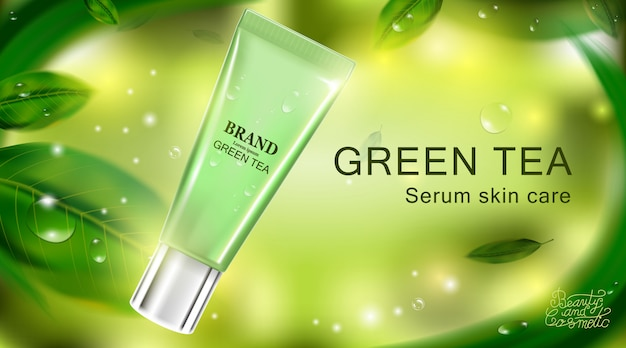 Luxury cosmetic bottle package skin care cream. beauty cosmetic product poster. Premium Vector
