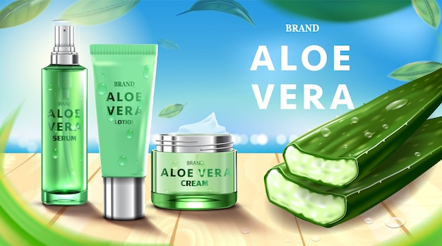 Luxury cosmetic bottle package skin care cream, beauty cosmetic product, with aloe vera Premium Vector