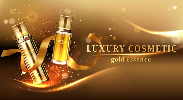 Luxury cosmetic products with golden glitter and ribbon Free Vector